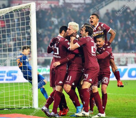 Torino's Maxi Lopez (2-l) Celebrates with His Teammates After Scoring the 1-1 Equalizer From the Penalty Spot During the Italian Serie a Soccer Match Between Torino Fc and As Roma at the Olympic Stadium in Turin Italy 05 December 2015 Italy Turin