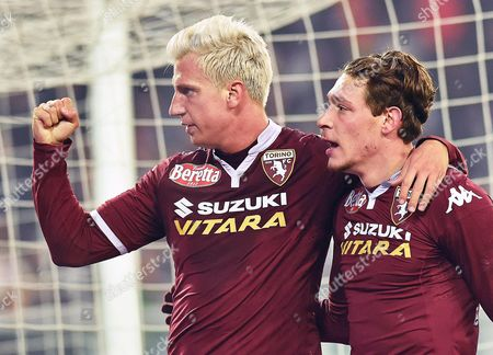 Torino's Maxi Lopez (l) Celebrates with His Teammate Andrea Belotti (r) After Scoring the 1-1 Equalizer From the Penalty Spot During the Italian Serie a Soccer Match Between Torino Fc and As Roma at the Olympic Stadium in Turin Italy 05 December 2015 Italy Turin