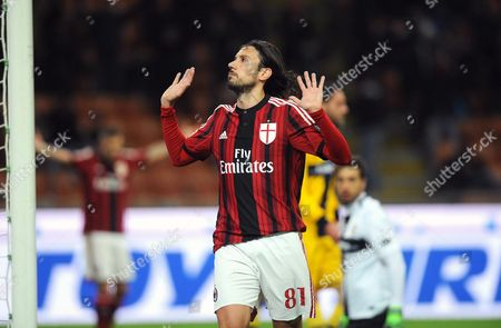 Milan's Cristian Zaccardo Celebrates After Scoring the 3-1 Goal During Italian Serie a Soccer Match Between Ac Milan and Parma Fc at Giuseppe Meazza Stadium in Milan Italy 01 February 2015 Italy Milan