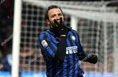 Inter Milan's Forward Gianpaolo Pazzini Celebrates After Scoring the 4-0 Lead During the Serie a Soccer Match Between Inter Milan and Fc Parma at the Giuseppe Meazza Stadium in Milan Italy 07 January 2012 Italy Milan