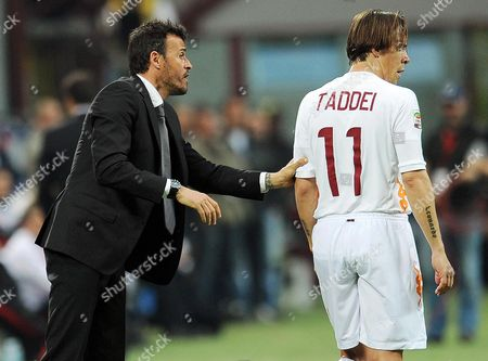 Roma's Spanish Head Coach Luis Enrique (l) Gives Instructions to Rodrigo Taddei (r) During the Italian Serie a Soccer Match Between Ac Milan and As Roma at Giuseppe Meazza Stadium in Milan Italy 24 March 2012 Milan Won 2-1 Italy Milan
