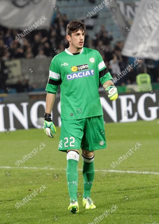 Udinese's Goalkeeper Simone Scuffet Looks on During the Italian Serie a Soccer Match Udinese Calcio Vs Calcio Catania at Friuli Stadium in Udine Italy 31 March 2014 Italy Udine