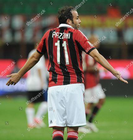 A C Milan Forward Gianpaolo Pazzini Reacts During a Serie a Soccer Match Between Ac Milan and Atalanta at the Giuseppe Meazza Stadium in Milan Italy 15 September 2012 Italy Milan