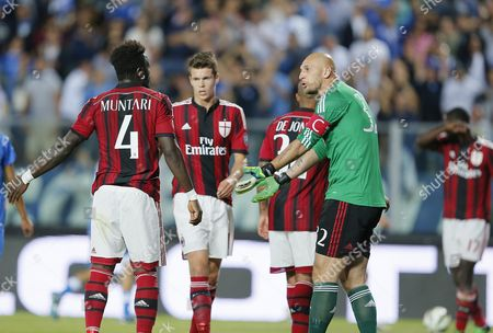 Milan's Goalkeeper Christian Abbiati (r) Reacts After Conceding the 2-0 Goal During the Italian Serie a Soccer Match Between Empoli Fc and Ac Milan at Carlo Castellani Stadium in Empoli Italy 23 September 2014 Italy Empoli