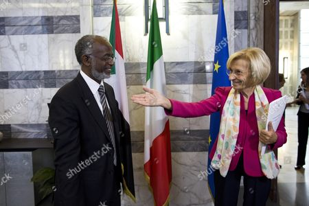 Stock Photo of Italian Foreign Ministry Emma Bonino (r) Welcomes Sudanese Foreign Minister Ali Karti at Farnesina Rome Italy 03 October 2013 Ali Karti is on an Official Visit to Italy Italy Rome