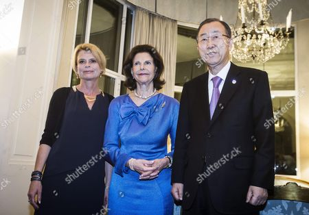 The Secretary-general of the United Nations Ban Ki-moon (l) with the Queen Silvia of Sweden (c) and Asa Regner Swedish Minister For Children the Elderly and Gender Equality Attending a Dinner at the Swedish Embassy in Rome Italy 27 April 2015 Italy Rome