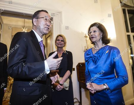 The Secretary-general of the United Nations Ban Ki-moon (l) with the Queen Silvia of Sweden (r) and Asa Regner (c) Swedish Minister For Children the Elderly and Gender Equality Attending a Dinner at the Swedish Embassy in Rome Italy 27 April 2015 Italy Rome