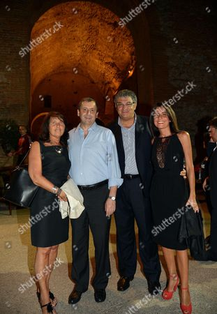 Italian Minister For Education Francesco Profumo (2-l) and Mayor of Taormina Mauro Passalacqua (2-r) Pose with Their Wives As They Attend a Party During the 58th Taormina Film Festival in Messina Sicily Island Italy 23 June 2012 the Festival Runs From 22 to 28 June Italy Taormina
