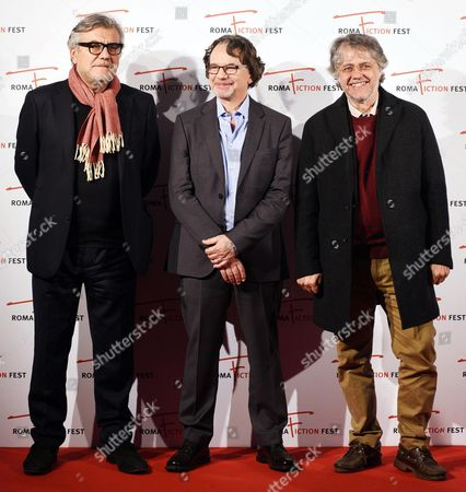 (l-r) Italian Magistrate and Writer Giancarlo De Cataldo Us Television Writer and Producer Frank Spotnitz and Italian Writer and Director Andrea Porporati Pose During a Photocall For 'Quando Il Romanzo Si Fa Serie' (lit : when the Novel Becomes a Series) at the Roma Fiction Fest in Rome Italy 14 November 2015 the Festival Runs From 11 to 15 November Italy Rome