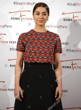 Italian Actress Simona Tabasco Poses in Front of Hashtag Signs Reading '#stay Strong Paris' During a Photocall at the Roma Fiction Fest in Rome Italy 14 November 2015 at Least 120 People Have Been Killed in a Series of Attacks in Paris on 13 November According to French Officials Italy Rome