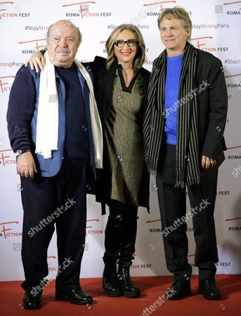 (l-r) Italian Actors/cast Members Lino Banfi Lunetta Savino and Giulio Scarpati Pose During a Photocall For the Television Series 'Un Medico in Famiglia' (lit : a Doctor in the Family) at the Roma Fiction Fest in Rome Italy 15 November 2015 the Festival Runs From 11 to 15 November Italy Rome