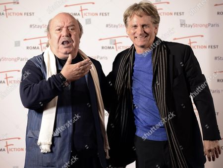Italian Actors/cast Members Lino Banfi (l) and Giulio Scarpati Pose During a Photocall For the Television Series 'Un Medico in Famiglia' (lit : a Doctor in the Family) at the Roma Fiction Fest in Rome Italy 15 November 2015 the Festival Runs From 11 to 15 November Italy Rome