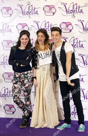 Actors/cast Members (l-r) Lodovica Comello Martina Stoessel and Ruggero Pasquarelli Pose During a Photocall For the Soap Opera's European Tour in Rome Italy 13 January 2014 the Disney Channel Argentinian Soap Opera Violetta is on a Concert Tour Through Europe Italy Rome