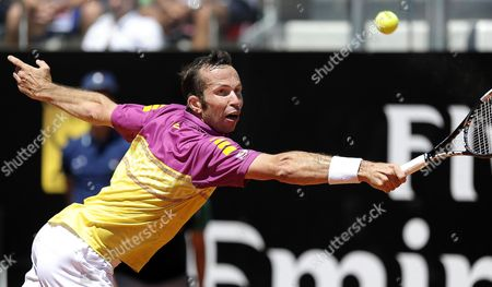 Czech Tennis Player Radek Stepanek Returns the Ball to Italy's Potito Starace During Their First Round Match of the Italian Open Tennis Tournament at Foro Italico in Rome Italy 13 May 2013 Italy Rome