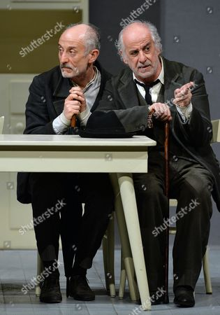 Tony (r) and Peppe Servillo Perform During the Theatrical Spectacle 'Le Voci Di Dentro (the Voices Inside)' at the Carignano Theater in Turin Italy 18 March 2014 Italy Torino