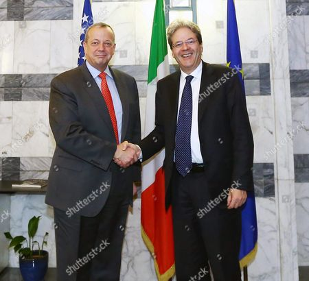 Italian Foreign Minister Paolo Gentiloni (r) Meets John R Allen (l) Us Special Presidential Envoy For the Global Coalition to Counter Isil in Rome Italy 13 March 2015 Boh Talked About the Current Devlopmetns in the Fight on Jihadist Terror Militia is in General and in Northern Iraqi City Tikrit in Particular Italy Rome