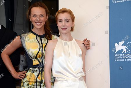Russian Actress Albina Dzhanabaeva (l) and German Actress Franziska Petri (r) Pose at a Photocall For the Movie 'Izmena' (betrayal) During the 69th Venice International Film Festival in Venice Italy 30 August 2012 the Movie is Presented in the Official Competition 'Venezia 69' at the Festival Which Runs From 29 August to 08 September Italy Venice