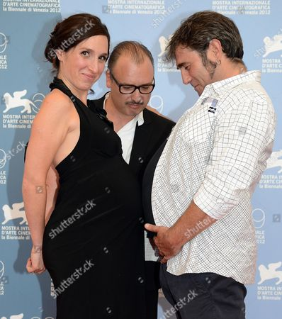 Stock Image of (l-r) Actress Anne Paulicevich Belgian Director Frederic Fonteyne and Spanish Actor Sergi Lopez Pose at a Photocall For the Movie 'Tango Libre' During the 69th Venice International Film Festival in Venice Italy 30 August 2012 the Movie is Presented in the Orizzonti Competition at the Festival Which Runs From 29 August to 08 September Italy Venice