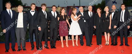 Italian Director Marco Bellocchio (6-r) Arrives with Cast Members (l-r) Fabrice Scott Roberto Herlitzka Fabrizio Falco Michele Riondino Pier Giorgio Bellocchio Maya Sansa Isabelle Huppert Toni Servillo the Director's Wife Francesca Calvelli and Cast Members Alba Rohrwacher Gianmarco Tognazzi and Brenno Placido For the Premiere of His Movie 'Bella Addormentata' During the 69th Venice International Film Festival in Venice Italy 05 September 2012 the Movie is Presented in the Official Competition of the Festival Which Runs From 29 August to 08 September Italy Venice
