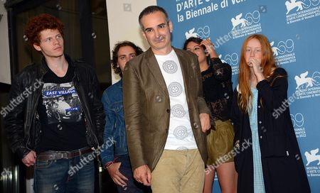 French Director Olivier Assays (c) Poses with French Actors Hugo Conzelmann (l) Felix Armand (2-l) Carole Combes (2-r) and India Salvor Menuez (r) at a Photocall For His Movie 'Apres Mai (something in the Air)' During the 69th Venice International Film Festival in Venice Italy 03 September 2012 the Movie is Presented in the Official Competition of the Festival Which Runs From 29 August to 08 September Italy Venice