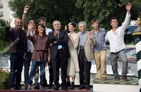 (l-r) Italian Actors Gian Marco Tognazzi Pier Giorgio Bellocchio Maya Sansa and Michele Riondino Italian Director Marco Bellocchio and Italian Actors Alba Rohrwacher Roberto Herlitzka Fabrizio Falco and Brenno Placido Arrive at the Lido During the 69th Venice International Film Festival in Venice Italy 04 September 2012 Bellocchio Arrived to Promote His Movie 'Bella Addormentata (sleeping Beauty)' Which is Presented in the Official Competition of the Festival Running From 29 August to 08 September Italy Venice