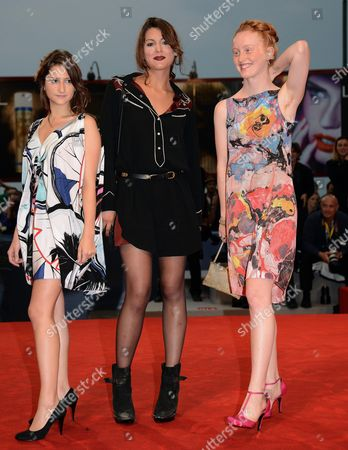 French Actresses/cast Members Lola Cetron (l) India Salvor Menuez (r) and Carole Combes (c) Arrive For the Premiere of 'Apres Mai (something in the Air)' During the 69th Venice International Film Festival in Venice Italy 03 September 2012 the Movie is Presented in the Official Competition of the Festival Which Runs From 29 August to 08 September Italy Venice