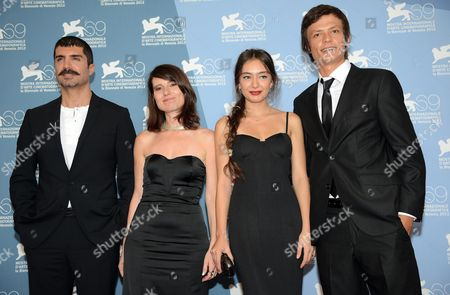 (l-r) Turkish Actor Ozcan Deniz Turkish Director Yesim Ustaoglu Turkish Actress Neslihan Atagul and Turkish Actor Baris Hacihan Pose at a Photocall For 'Araf (araf - Somewhere in Between)' During the 69th Venice International Film Festival in Venice Italy 05 September 2012 the Movie is Presented in the Orizzonti Section of the Festival Which Runs From 29 August to 08 September Italy Venice