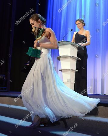 Israeli Actress Hadas Yaron Leaves the Stage After Receiving the Coppa Volpi For Best Actress During the Closing Award Ceremony of the 69th Venice International Film Festival in Venice Italy 08 September 2012 Italy Venice