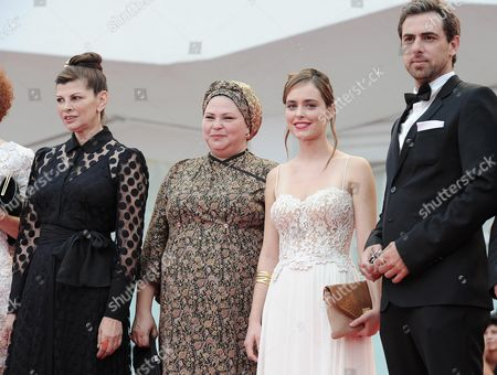 (l-r) Israeli Actress Irit Sheleg Israeli Director Rama Burshtein Israeli Actors Hadas Yaron and Yiftach Klein Attend the Premiere of 'Fill the Void (lemale Et Ha' Chalal)' During the 69th Venice International Film Festival in Venice Italy 02 September 2012 the Movie is Presented in Competition at the Festival Which Runs From 29 August to 08 September Italy Venice