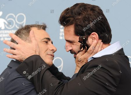Stock Image of Director Idan Huble (r) and Actor Moshe Ivgy Poses During the Photocall For 'Manatek Ha-main' (the Cutoff Man) During the 69th Venice International Film Festival in Venice Italy 04 September 2012 the Movie is Presented out of Competition at the Festival Which Runs From 29 August to 08 September Italy Venice