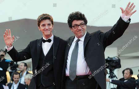Stock Image of Italian Actor Fabrizio Falco (l) and Italian Director Daniele Cipri Arrive For the Closing Award Ceremony of the 69th Venice International Film Festival in Venice Italy 08 September 2012 the Festival Takes Place From 29 August to 08 September Italy Venice