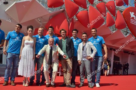 Italian Productor Aurelio De Laurentiis (front) Italian Director Enrico Maria Artale (2-r) Italian Actors Lorenzo Richelmy (4-r) and Margherita Laterza (2-l) Pose on Red Carpet with Six Players of Italian National Rugby Team As They Attend the Screening of 'Il Terzo Tempo' During the 70th Annual Venice International Film Festival in Venice Italy 31 August 2013 the Movie is Presented in the Orizzonti Section of the Festival That Runs From 28 August to 07 September Italy Venice