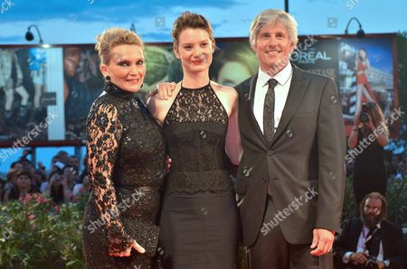 (l-r) Australian Writer Robyn Davidson Australian Actress Mia Wasikowska and Us Director John Curran Arrive For the Premiere of 'Tracks' at the 70th Annual Venice International Film Festival in Venice Italy 29 August 2013 the Movie is Presented in the Official Competition of the Festival That Runs From 28 August to 07 September Italy Venice