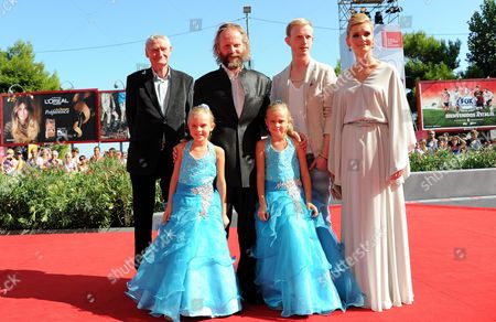 (back Row L-r) German Actor Horst Rehberg Director Philip Groening Actors David Zimmerschied and Alexandra Finder and (front Row) Actresses Pia and Chiara Kleeman Arrive For the Premiere of 'Die Frau Des Polizisten' (the Police Officer's Wife) at the 70th Annual Venice International Film Festival in Venice Italy 30 August 2013 the Movie is Presented in the Official Competition Venezia 70 of the Festival Running From 28 August to 07 September Italy Venice