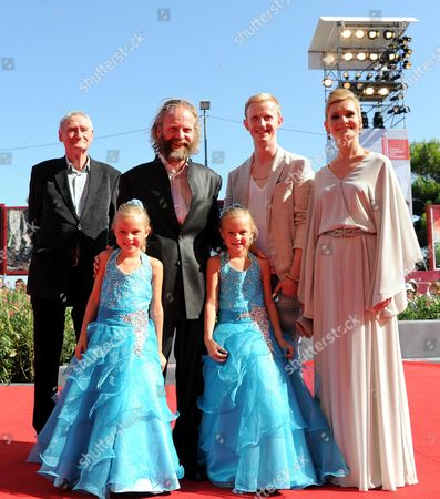 (back Row L-r) German Actor Horst Rehberg Director Philip Groening Actors David Zimmerschied and Alexandra Finder and (front Row) Actresses Pia and Chiara Kleemann Arrive For the Premiere of 'Die Frau Des Polizisten' (the Police Officer's Wife) at the 70th Annual Venice International Film Festival in Venice Italy 30 August 2013 the Movie is Presented in the Official Competition Venezia 70 of the Festival Running From 28 August to 07 September Italy Venice