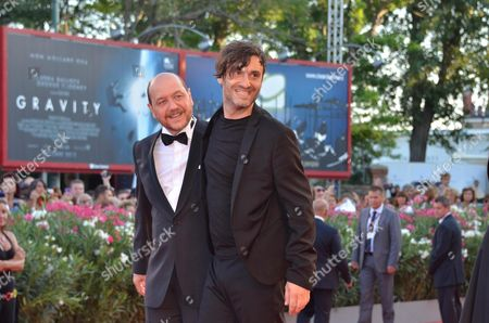 From L-r Greek Actor Themis Panou and Greek Director Alexandros Avranas Pose For Photos During Red Carpet Arrivals to Attend the Awarding Ceremony of the Venice International Film Festival 07 September 2013 Italy Venice