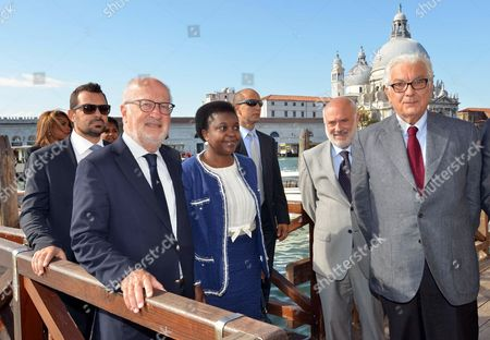 Venice Mayor Giorgio Orsoni (c-l) Italian Integration Minister Cecile Kyenge (c) and Venice Biennale President Paolo Baratta (r) Arrive For the Screening of the Documentary Film '18 Ius Soli' at the 70th Annual Venice International Film Festival in Venice Italy 02 September 2013 the Festival Runs From 28 August to 07 September Italy Venice