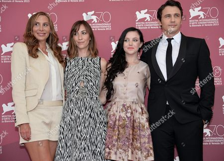 Stock Photo of (l-r) Us Stylist Jacqui Getty Us Director Gia Coppola Us Actors Claudia Levy and James Franco Pose at a Photocall For 'Palo Alto' During the 70th Annual Venice International Film Festival in Venice Italy 01 September 2013 the Movie is Presented in the Orizzonti Section of the Festival That Runs From 28 August to 07 September Italy Venice