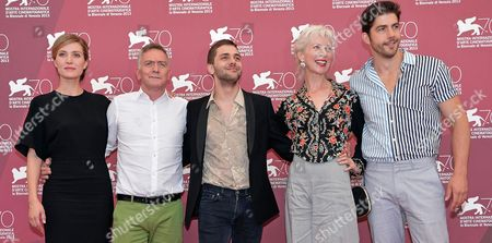 Stock Picture of (l-r) Canadian Author Michel Marc Bouchard Poses with Compatriots and Cast Members Evelyne Brochu Xavier Dolan Lise Roy and Pierre-yves Cardinal Pose During a Photocall For 'Tom a La Ferme' at the 70th Annual Venice International Film Festival in Venice Italy 02 September 2013 the Movie is Presented in the Official Competition Venezia 70 the Festival Runs From 28 August to 07 September Italy Venice
