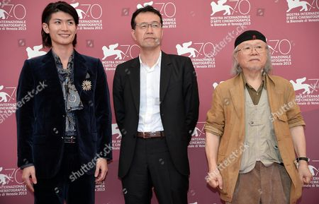 (l-r) Japanese Actor/cast Member Haruma Miura Cartoonist and Animator Leiji Matsumoto and Director Shji Aramaki Pose at a Photocall For 'Harlock: Space Pirate' During the 70th Annual Venice International Film Festival in Venice Italy 03 September 2013 the Movie is Presented out of Competition the Festival Runs From 28 August to 07 September Italy Venice