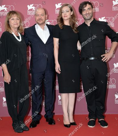 (l-r) Greek Actors Reni Pitaki Themis Panou Eleni Roussinou and Greek Director Alexandros Avranas Pose at a Photocall For 'Miss Violence' During the 70th Annual Venice International Film Festival in Venice Italy 01 September 2013 the Movie is Presented in the Official Competition Venezia 70 of the Festival Running From 28 August to 07 September Italy Venice