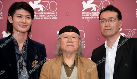 Stock Photo of (l-r) Japanese Actor/cast Member Haruma Miura Cartoonist and Animator Leiji Matsumoto and Director Shji Aramaki Pose at a Photocall For 'Harlock: Space Pirate' During the 70th Annual Venice International Film Festival in Venice Italy 03 September 2013 the Movie is Presented out of Competition the Festival Runs From 28 August to 07 September Italy Venice
