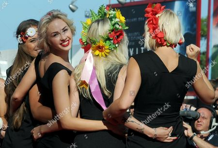 Activists of the Feminist Protest Group Femen Including Sasha Shevchenko (2-l) Arrive For the Screening of 'Ukraina Ne Bordel' (ukraine is not a Brothel) at the 70th Annual Venice International Film Festival in Venice Italy 05 September 2013 the Movie is Presented out of Competition As Special Screening the Festival Runs From 28 August to 07 September Italy Venice