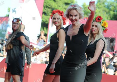 Activists of the Feminist Protest Group Femen Including Sasha Shevchenko (2-r) Arrive For the Screening of 'Ukraina Ne Bordel' (ukraine is not a Brothel) at the 70th Annual Venice International Film Festival in Venice Italy 05 September 2013 the Movie is Presented out of Competition As Special Screening the Festival Runs From 28 August to 07 September Italy Venice