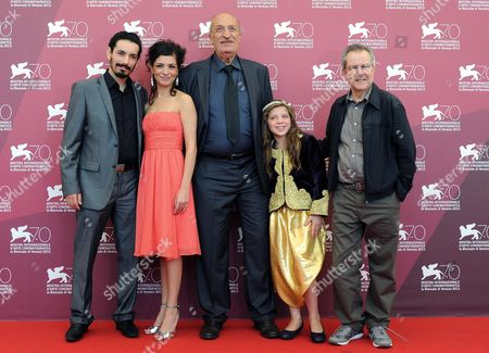 (l-r) Actors Nadjib Oulebsir Meriem Medjkane Hacene Benzerari Myriam Ait El Hadj and Director Merzak Allouache Pose at a Photocall For 'Es-stouh' (the Rooftops) During the 70th Annual Venice International Film Festival in Venice Italy 06 September 2013 the Movie is Presented in the Official Competition Venezia 70 of the Festival Running From 28 August to 07 September Italy Venice