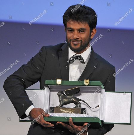 Indian Director Shubhashish Bhutiani Receives the Orizzonti Award For Best Short Movie For the Film 'Kush' During the Closing Award Ceremony of the 70th Venice International Film Festival in Venice Italy 07 September 2013 Italy Venice