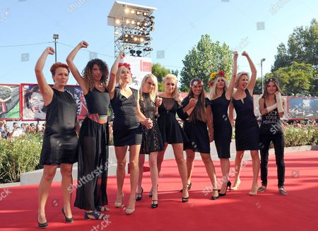 Australian Director Kitty Green (4-l) Arrives with Activists of the Feminist Protest Group Femen Including Inna Shevchenko (c) and Sasha Shevchenko (2-r) For the Screening of 'Ukraina Ne Bordel' (ukraine is not a Brothel) at the 70th Annual Venice International Film Festival in Venice Italy 05 September 2013 the Movie is Presented out of Competition As Special Screening the Festival Runs From 28 August to 07 September Italy Venice