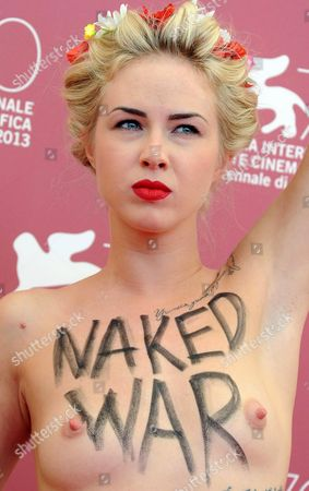 Ukrainian Activist Sasha Shevchenko of the Feminist Protest Group Femen Poses Topless at a Photocall For 'Ukraina Ne Bordel' (ukraine is not a Brothel) During the 70th Annual Venice International Film Festival in Venice Italy 04 September 2013 the Movie is Presented out of Competition at the Festival Running From 28 August to 07 September Italy Venice