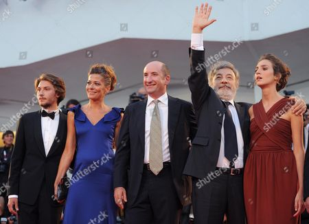 (l-r) Italian Actors/cast Members Gabriele Rendina Sandra Ceccarelli Antonio Albanese Director Gianni Amelio and Livia Rossi Arrive For the Premiere of 'L'inteprido' at the 70th Annual Venice International Film Festival in Venice Italy 04 September 2013 the Movie is Presented in the Official Competition Venezia 70 the Festival Runs From 28 August to 07 September Italy Venice