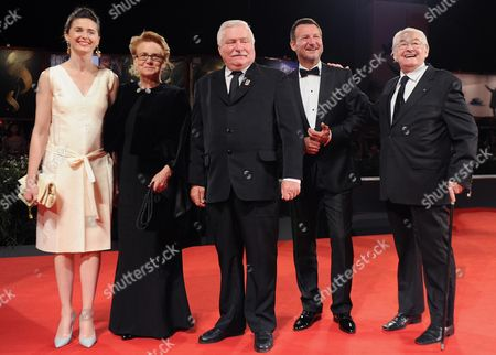 (l-r) Polish Actress/cast Member Agnieszka Grochowska Walesa's Wife Danuta Golos Former Polish President Lech Walesa Polish Actor/cast Member Robert Wieckiewicz and Polish Director Andrzej Wajda Arrive For the Screening of 'Walesa Czlowiek Z Nadziei' (walesa Man of Hope) at the 70th Annual Venice International Film Festival in Venice Italy 05 September 2013 the Movie is Presented out of Competition the Festival Runs From 28 August to 07 September Italy Venice